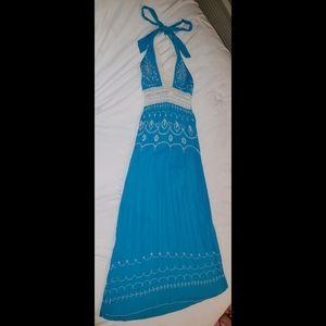 Blue Floral Crochet Halter Summer Dress